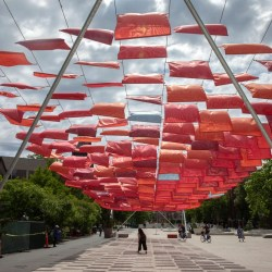 Artistic canopy creates comfort zone in Science Center Plaza