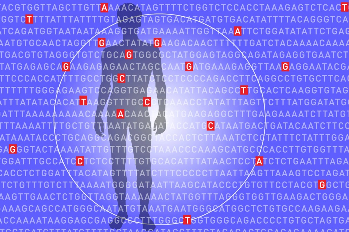 illustration of man with genetic lists