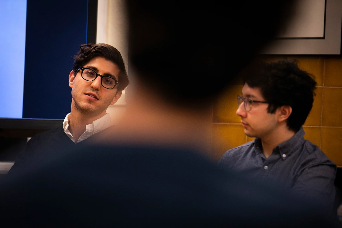 """Music & Entertainment Pathways brought Harvard graduates back to campus to discuss ways to get into the industry. Ethan Karetsky (left), Harvard Business School '20, is in content acquisition at Hulu. Nick Hornedo '19 was a summer intern on """"The Late Show with Stephen Colbert."""""""