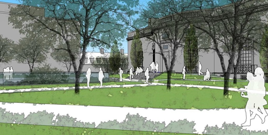 Rendering of Houghton Library renovation, exterior, view from Loeb House.