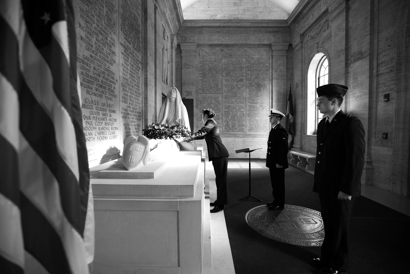 """Members of Harvard's ROTC lay a wreath on the sculpture """"The Sacrifice"""""""