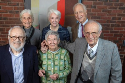 """Six members of the Class of 1948 pose for a group photo. Front row (from left): Steven Stadler, Natalie Basso Ryan, Ray Goldberg. Back row: Sayre Phillips Sheldon, Eleanor """"Buster"""" Foley Glimp, and Henry Lee."""