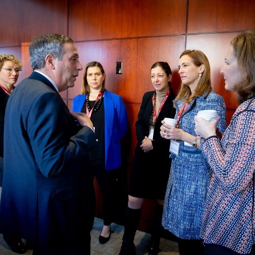 Larry Bacow speaks with Chrissy Houlahan, Elissa Slotkin, Elaine Luria, Mikie Sherrill, and Kim Schrier.
