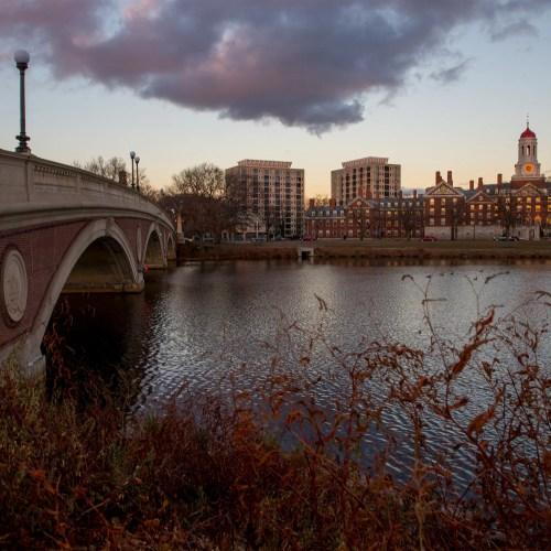 Views at dusk of the Charles River, the Weeks Footbridge,