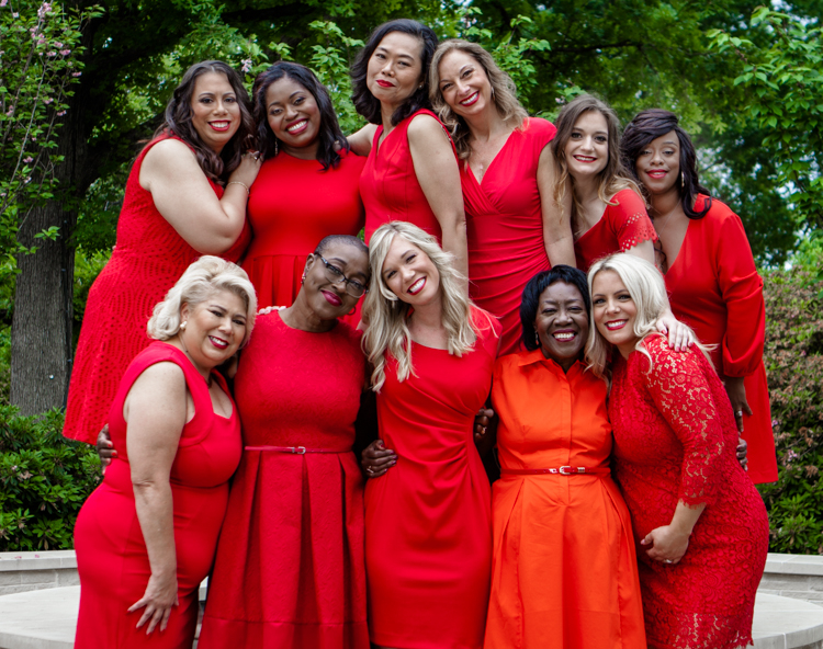 Eve Walker (top row, second from left) with other Go Red For Women national ambassadors.