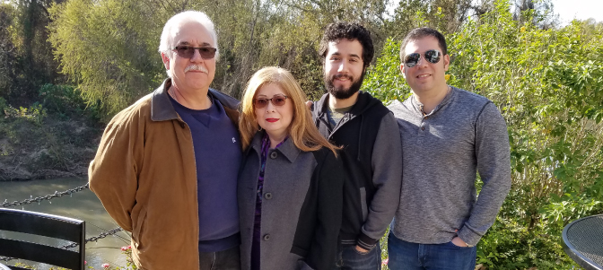 Stroke and cancer survivor Belinda De La Rosa with, from left, her husband Joe and sons Michael and Jonathan. (Photo courtesy of Belinda De La Rosa)