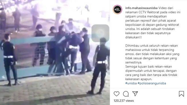 Video Polisi Pukul Satpam Kampus Unisba Bandung