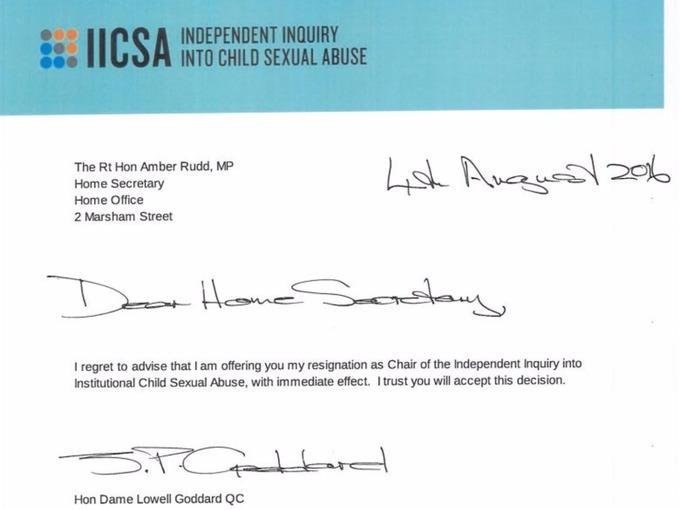 Dame Goddard's resignation letter to Amber Rudd.