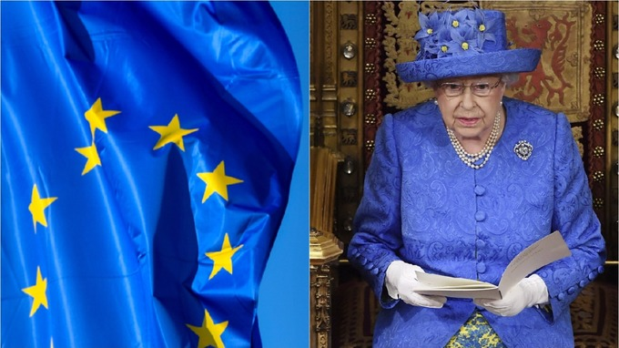 Image result for queens speech 2017 attire and eu flag