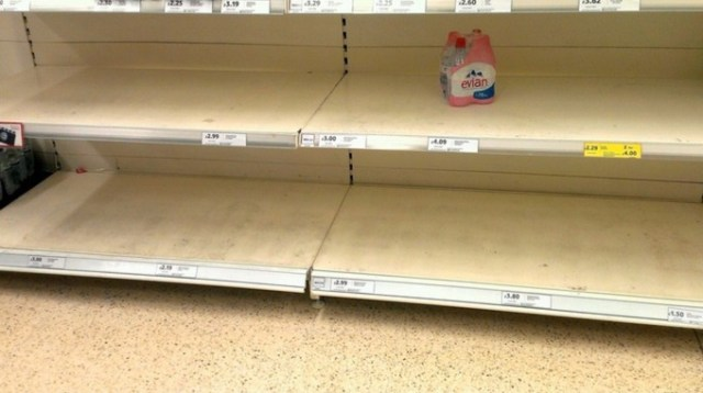 Shelves were cleared of water at a Tesco in Leyland.