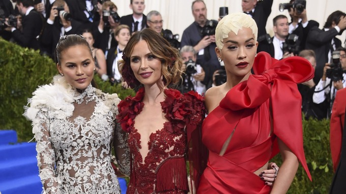 British designer Georgina Chapman, centre, met her future husband at a New York party in 2004.