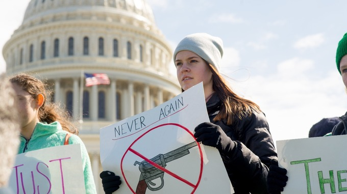 Students demand gun control legislation outside the US Capitol.