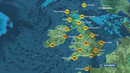 weather forecast   ITV News Weekend weather  Cloudy start with heavy downpours for some
