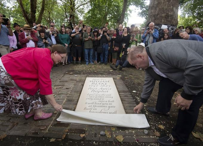 The unveiling of a headstone for William Blake at Bunhill Fields in London