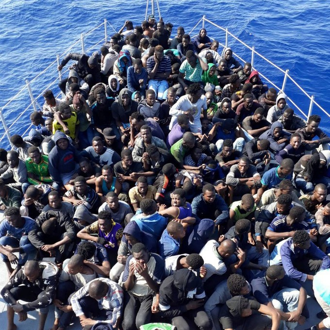 African migrants rescued by the Libyan coast guard in June on their way to Europe.