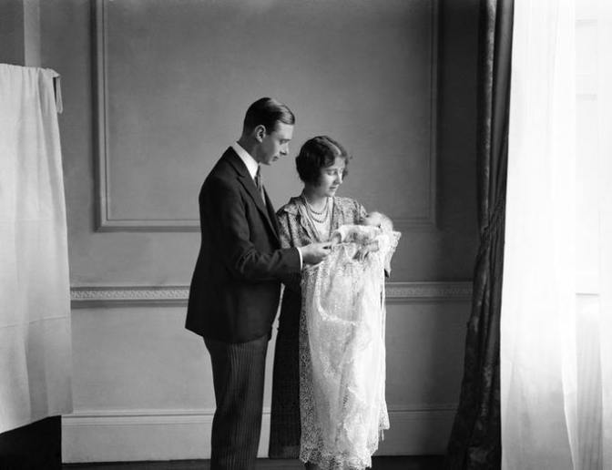 The Duke and Duchess of York with their daughter Princess Elizabeth at her christening in 1926