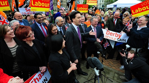 Labour leader Ed Miliband with Labour Group leader Sir Albert Bore