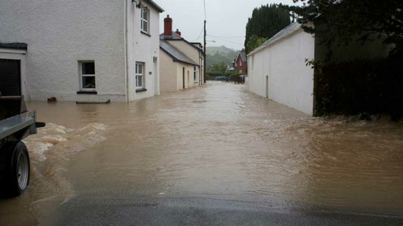 Flooding in Dolybont, West Wales.