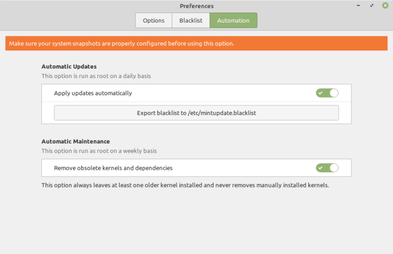 Auto updates in Linux Mint