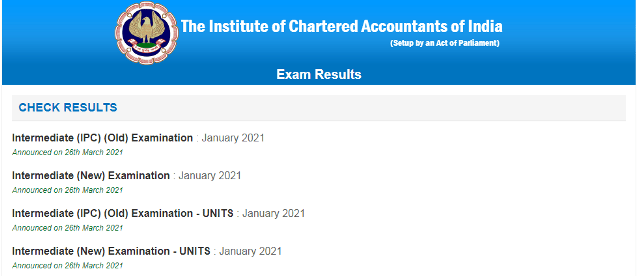 ICAI CA intermediate Jan 2021 Result