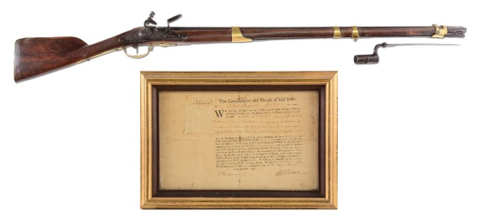 The musket will be sold along with John Simpson's original military commission dated March 17, 1778 (Image: Morphy Auctions)