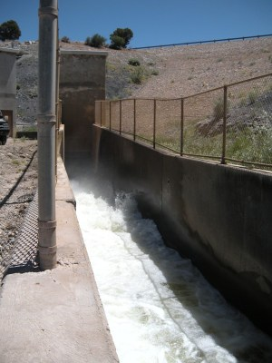 Irrigation water rushes through an outlet at McPhee Reservoir. Water stored at the reservoir allowed the Dolores Water Conservancy District to service over 61,000 acres through a system of canals and tunnels. The Southwest Basin Roundtable is helping find common ground between agricultural and environmental wishes.