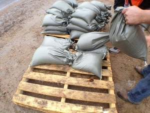 Sandbags helped to keep water out of homes during flood