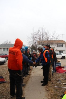 Robinson (right) taking part in a direct action training in Pierce, Colorado on February 25, 2014.