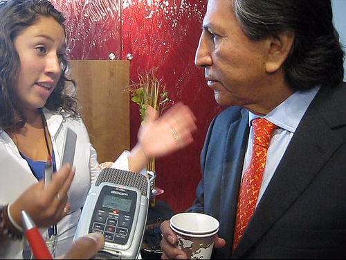 2010: Former President of Peru Alejandro Toledo is approached by KGNU about the School of the Americas and Newmont Mining.