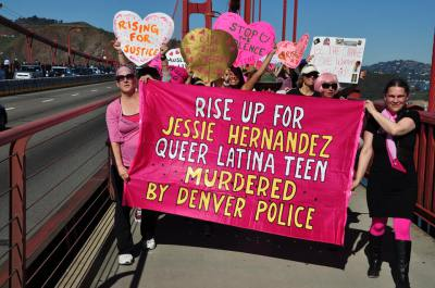 The once-confiscated banner created by Colorado Code Pink has appeared all over the country including here crossing the Golden Gate Bridge in San Francisco and is currently on its way to the US Social Forum in Philadelphia this weekend.