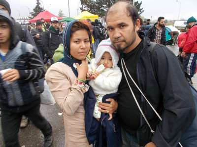 Refugee Family at Austria-Hungary Border