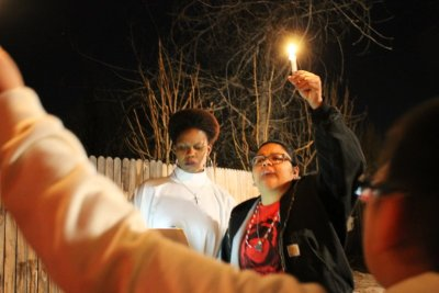 Reverend Dawn Duval leading the vigil to honor the Denver teen Jessica Hernandez in January of 2016 who was also shot by Denver police in 2015.