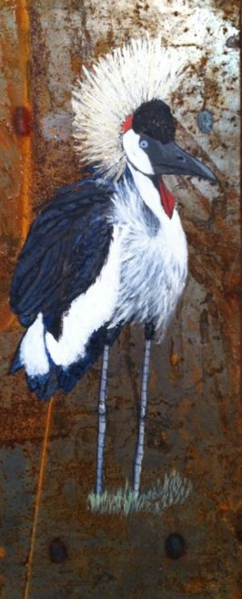 balck-crowned-crane-on-metal