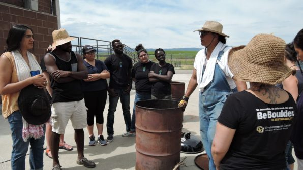 Workshop leader Michael Alcazar explains the method they were about to use to create the type of biochar they wanted