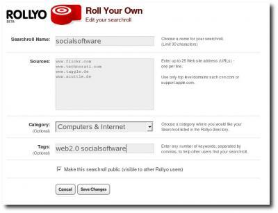 Anlegen einer Searchroll in Rollyo