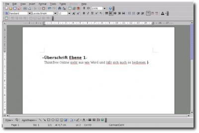 Textverarbeitung von Thinkfree Office
