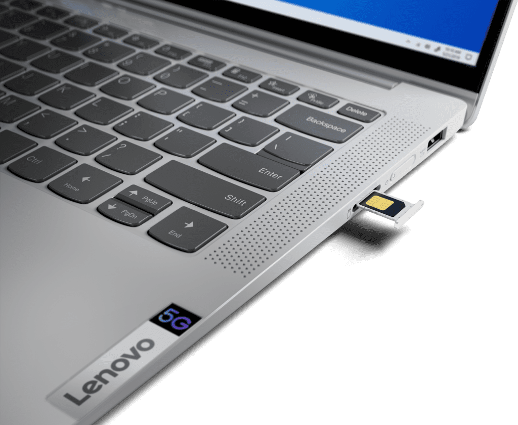 Lenovo IdeaPad 5G closeup showing the sim card slot