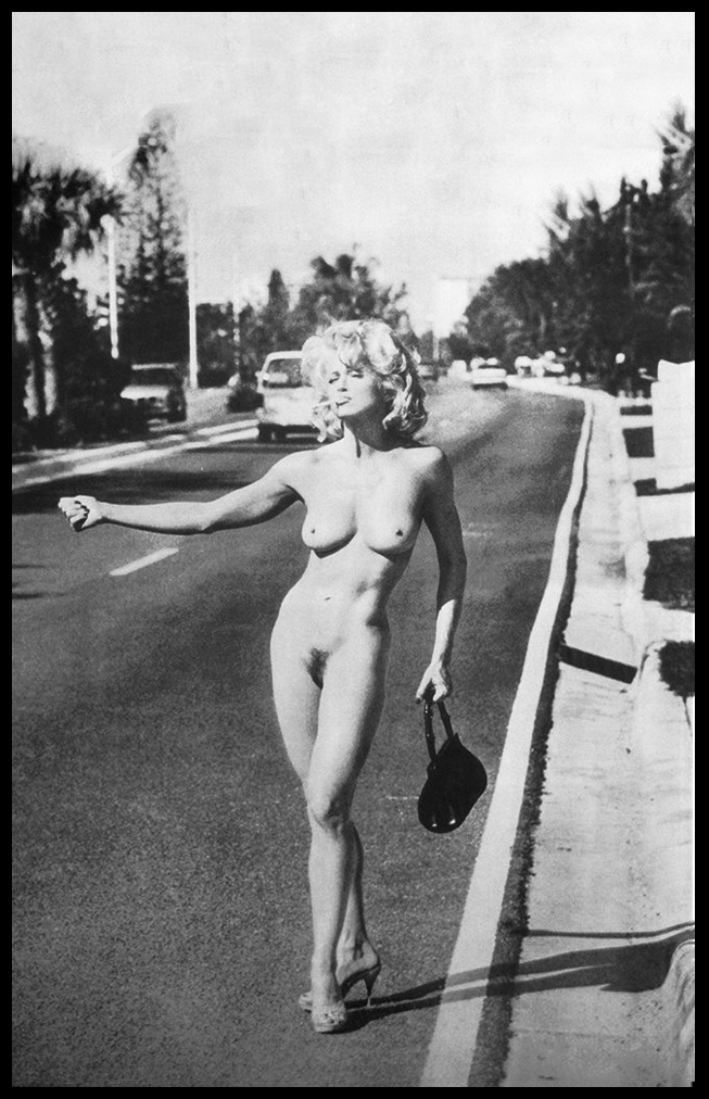 Madonna hitchhiking naked somewhere in Miami during the shooting of her book SEX.