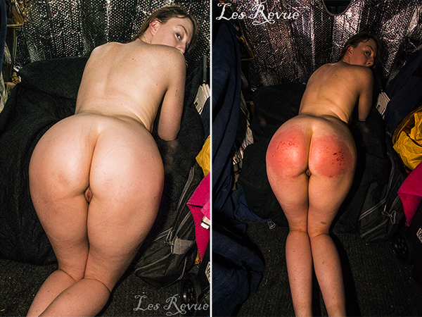 Smooth white ass and beet red butt, before and after spanking Hannah.