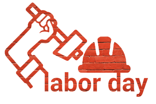 Labor Day Icon (hard hat, hand holding hammer)