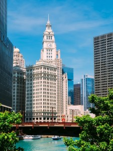 View of Chicago River with Wrigley Building in the background