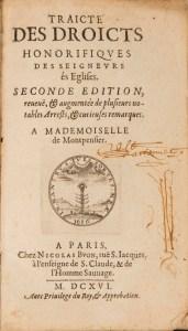 Title page of Traicte des Droicts Honorifiques des Seigneurs és Eglises,1616