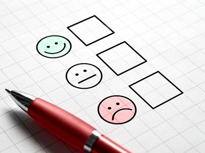 Feedback form (check boxes next to emoticons: happy, neutral, sad)