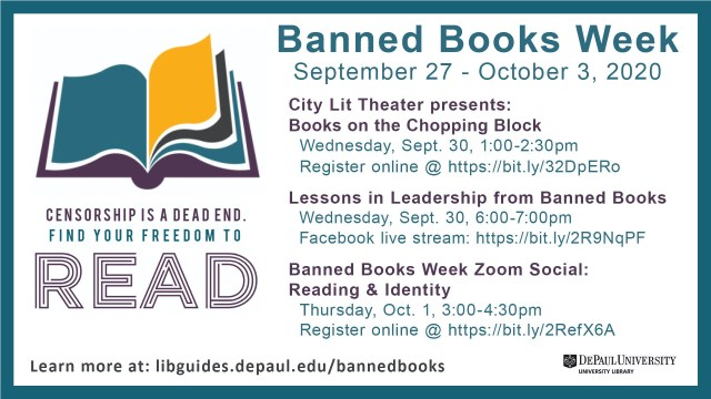 Image lists events offered during Banned Books Week including dates, times and registration links. which we are listing in the article as well.