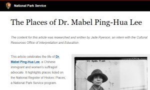 Screenshot of the NPS article The Places of Dr. Mabel Ping-Hua Lee