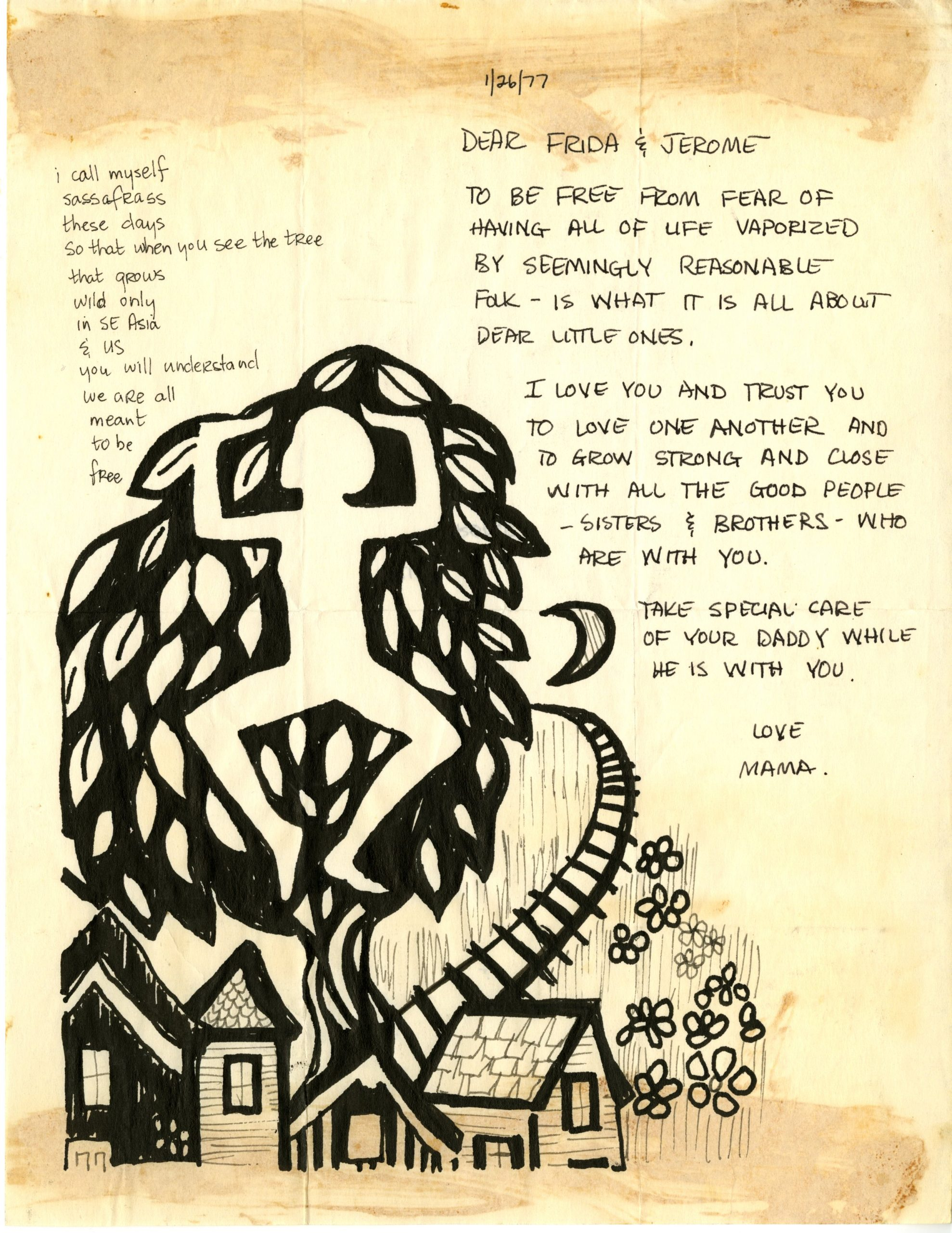 Letter from Liz McAlister to her children, Frida and Jerome Berrigan, while she was incarcerated. Page features a poem in the top left corner and a drawing of homes, flowers, and a person trying to break out of the canopy of a tree.
