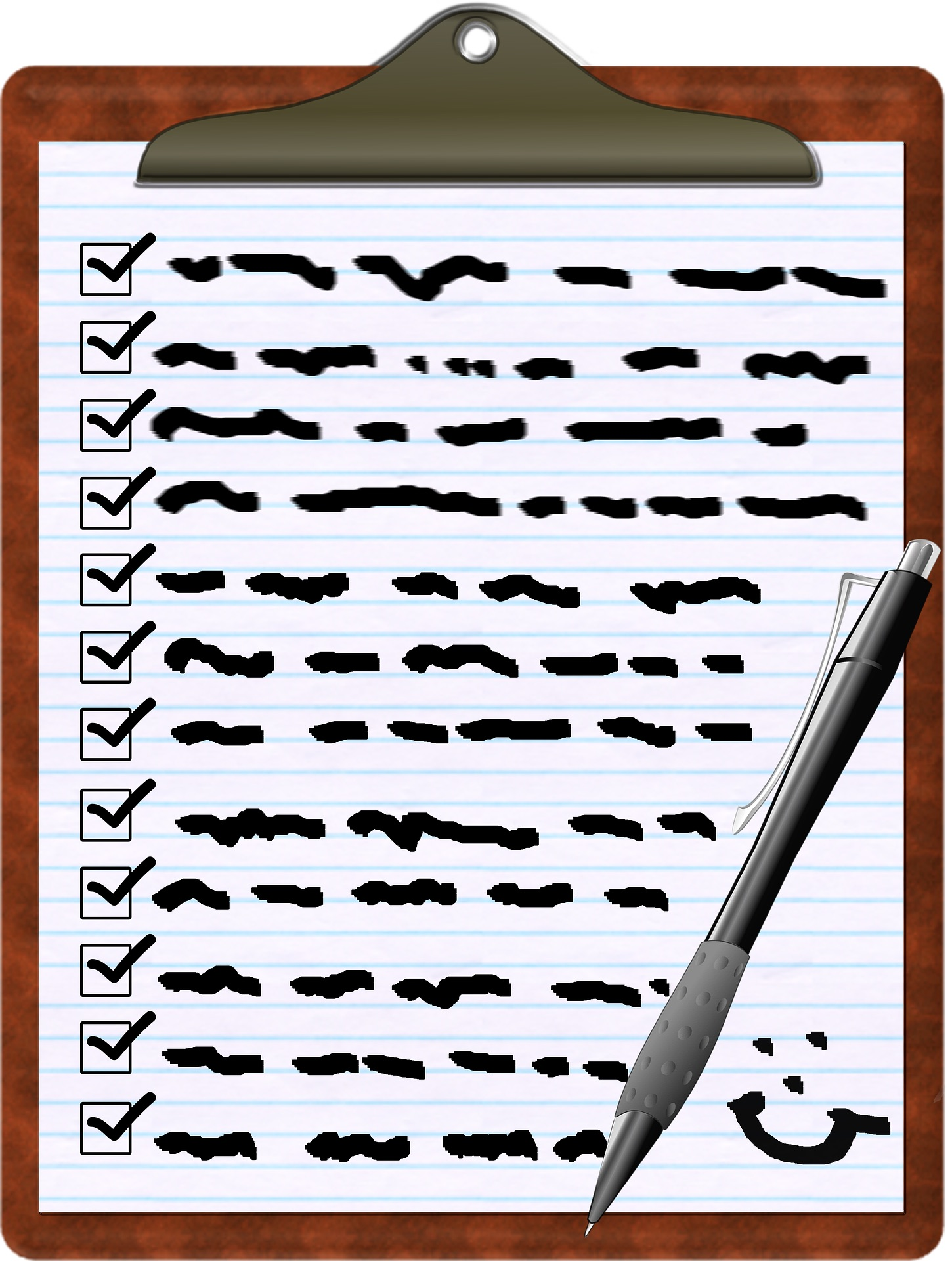 Illustration of clipboard with list and smiley face