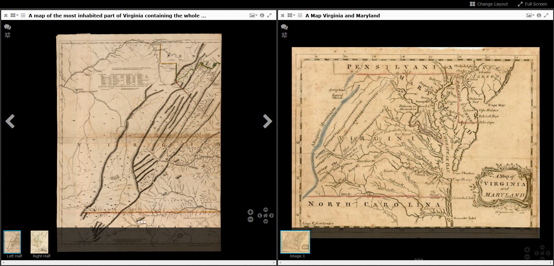 With iiif the library offers unprecedented access to digital uvas fry jefferson map left stanfords a map of virginia and maryland right gumiabroncs Images