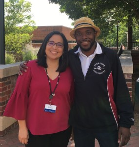 ACRL Diversity Alliance Resident Librarians, Hanni Nabahe and Sony Prosper outside of Clemons Library
