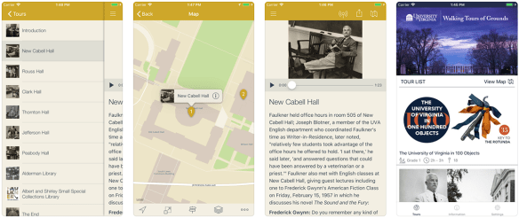 Screen shots from mapping app with descriptions of each location